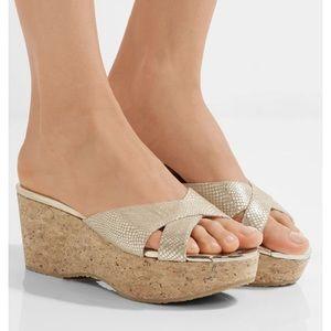 Jimmy choo gold prima wedges platform sandals